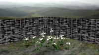 3d white iris flower