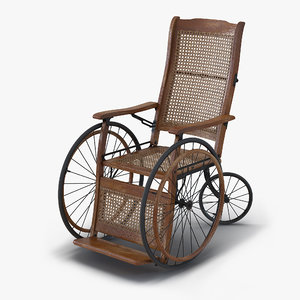 vintage wheelchair rigged 3d max