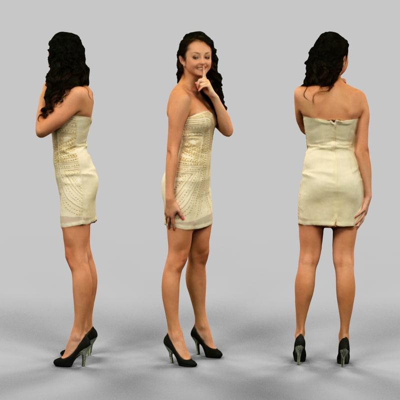 3d woman silencing whispering model