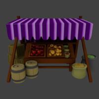 3d model medieval market