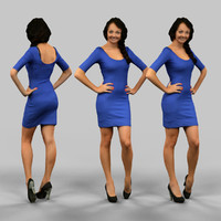 3d obj girl blue dress