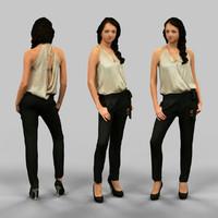 3d model girl black pants golden