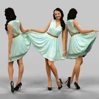 3d girl lifting green dress model