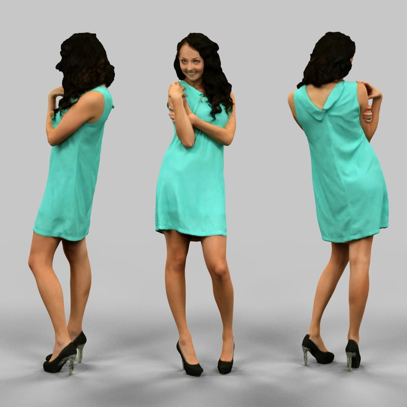 woman green dress 3d model
