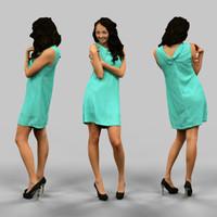 woman green dress 3d model
