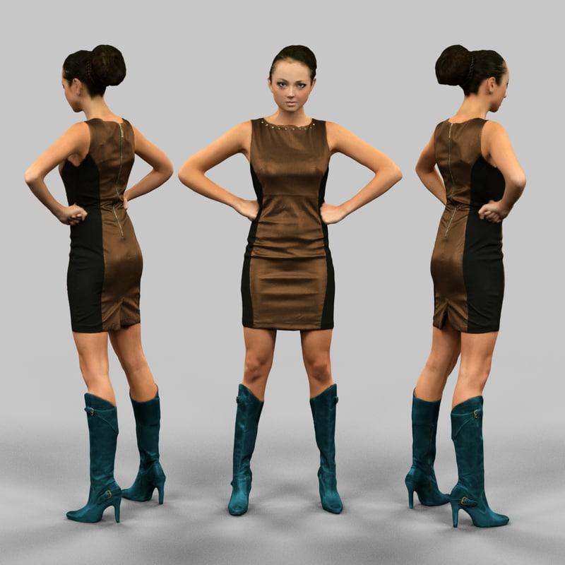girl leather dress 3d model