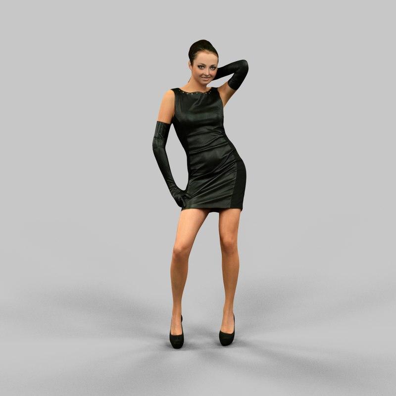 Girl Leather Dress Gloves 3d Model