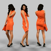 woman orange dress 3d obj