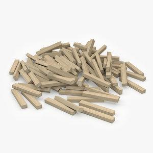 wood beams v3 3ds