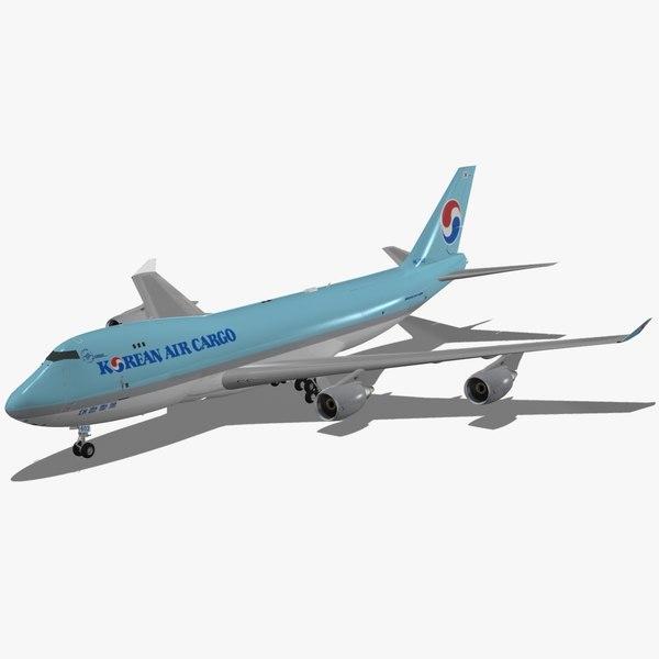 3d model boeing 747-400 f korean