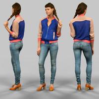 3d model girl jeans blue