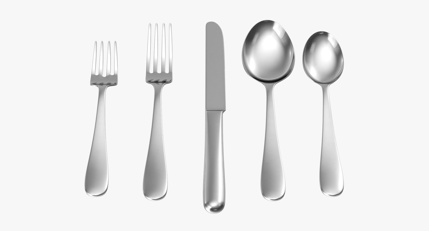 simple flatware set 01 c4d