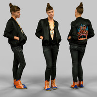 girl black flamingo jacket fbx