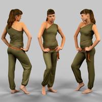 girl green jumpsuit obj