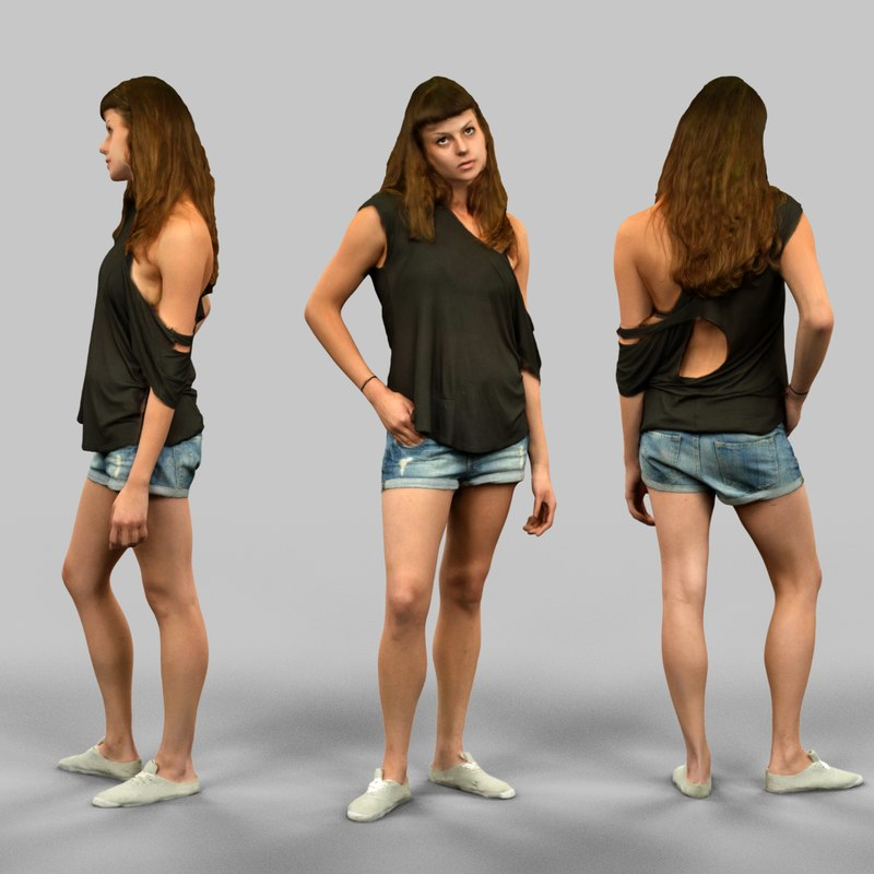 woman jeans short 3d obj