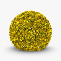 3d model of realistic hedge 01 yellow