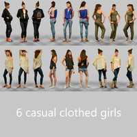6 casual clothed girls