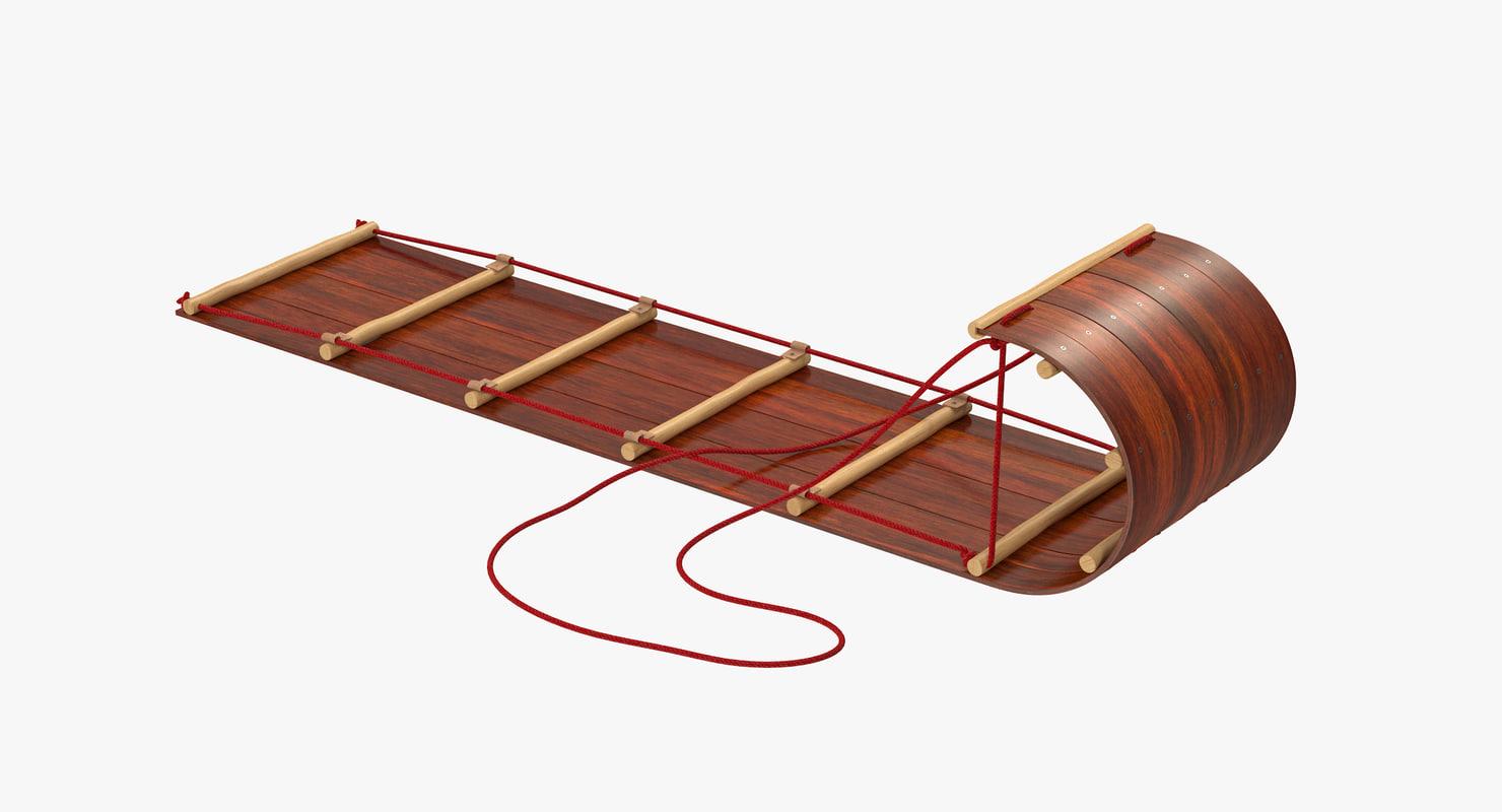 3d model toboggan sled