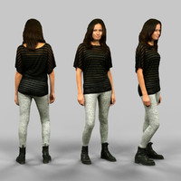 3d girl white legging model