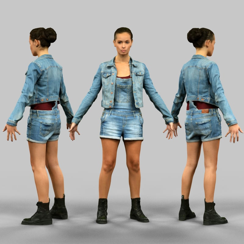 3d model a-pose girl ready rigging
