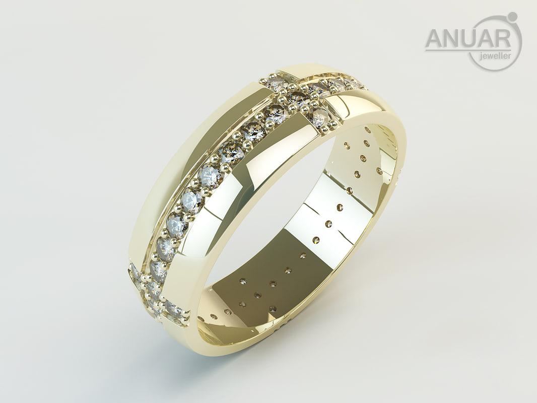 3d model ring gold diamonds