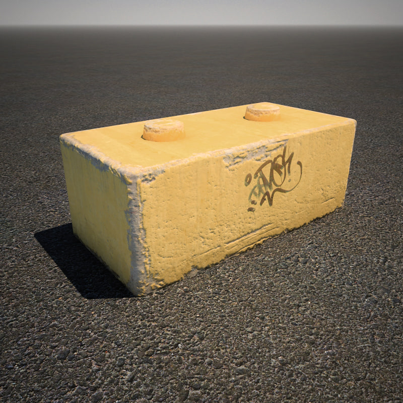 yellow concrete barricade 3d max