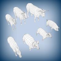 domestic animals base mesh c4d