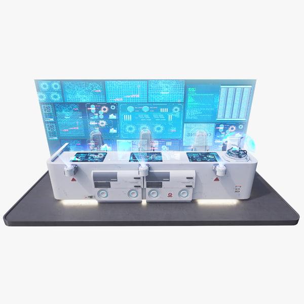 futuristic command panel 2 3d model