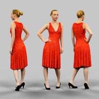 woman long red dress 3d x