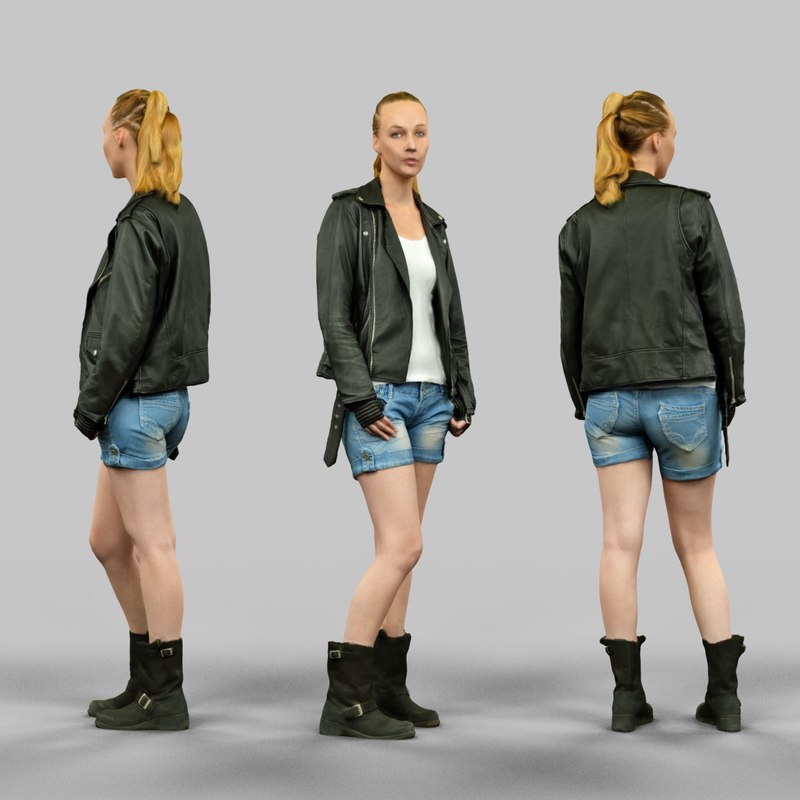 3d girl leather jacket model