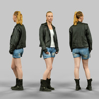 3d girl leather jacket model