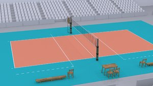 3d model real volleyball court