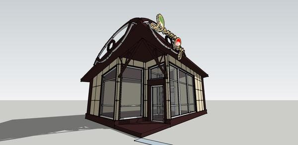 3d model floral pavilion