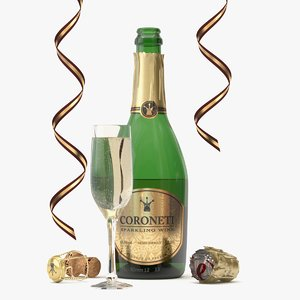 3d model bottle glass coroneti champagne