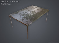 3d model old table -