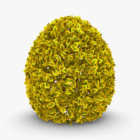 3d realistic hedge 02 yellow