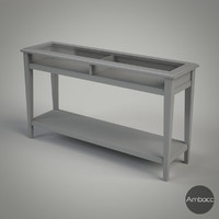 IKEA Inspired LIATORP Sofa Table, Gray & White, Glass - 133x37x75cm