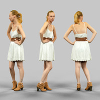3d model girl white dress posing