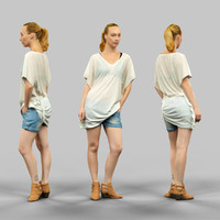 Transparant top and jeans short Girl