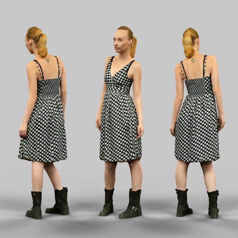 girl dress polka dot obj