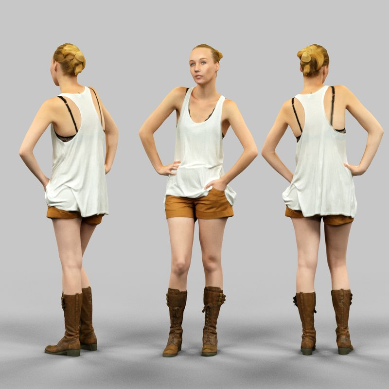 3d girl white beige shorts