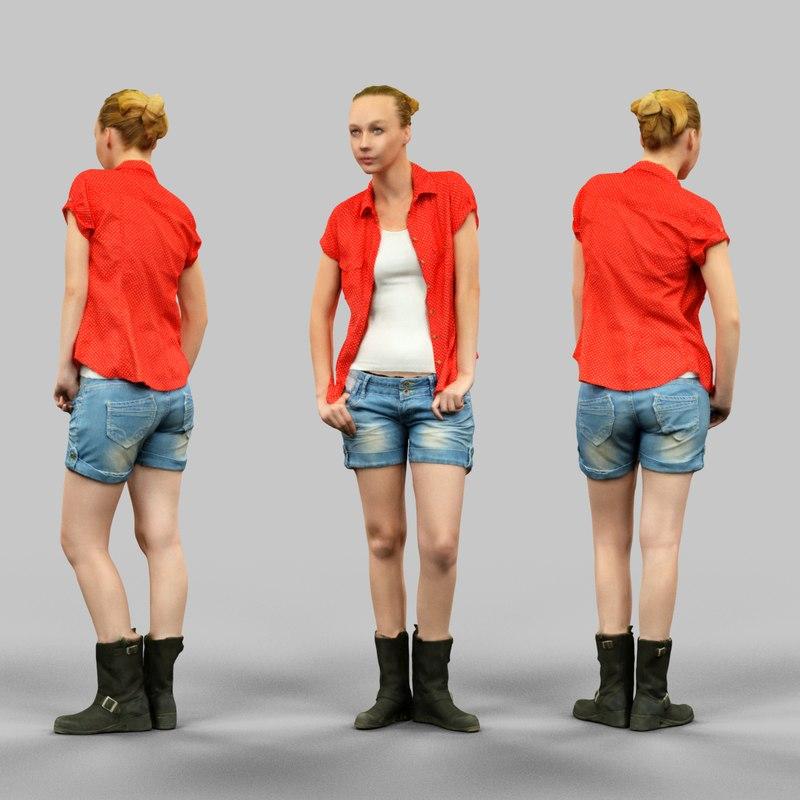 girl jeans shorts red 3d model