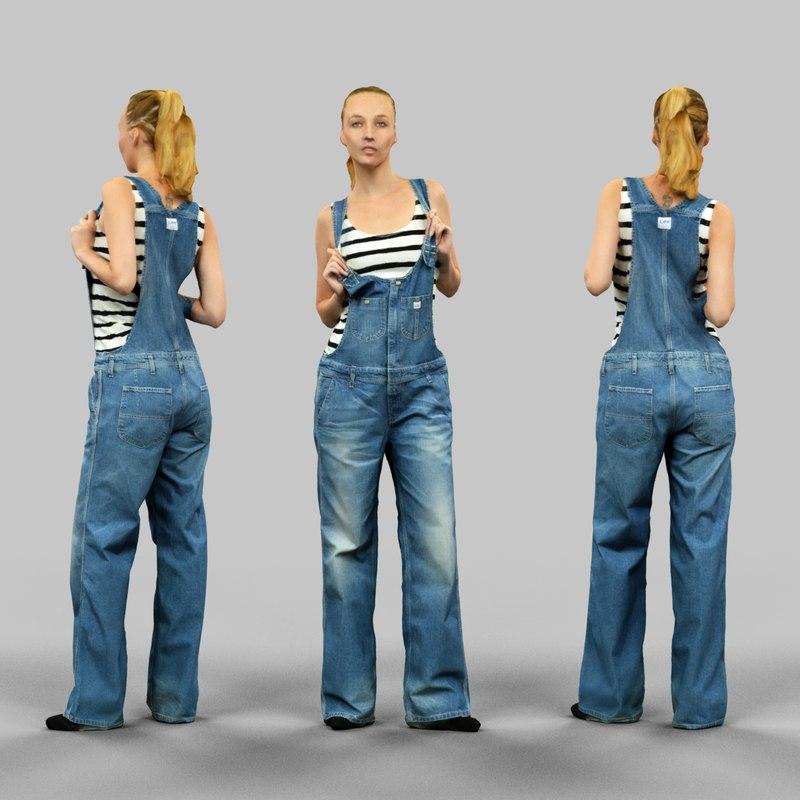 girl jeans salopet fbx