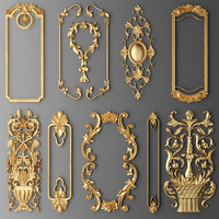 frame cartouches set 3d model