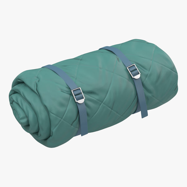 3d folded green sleeping bag model