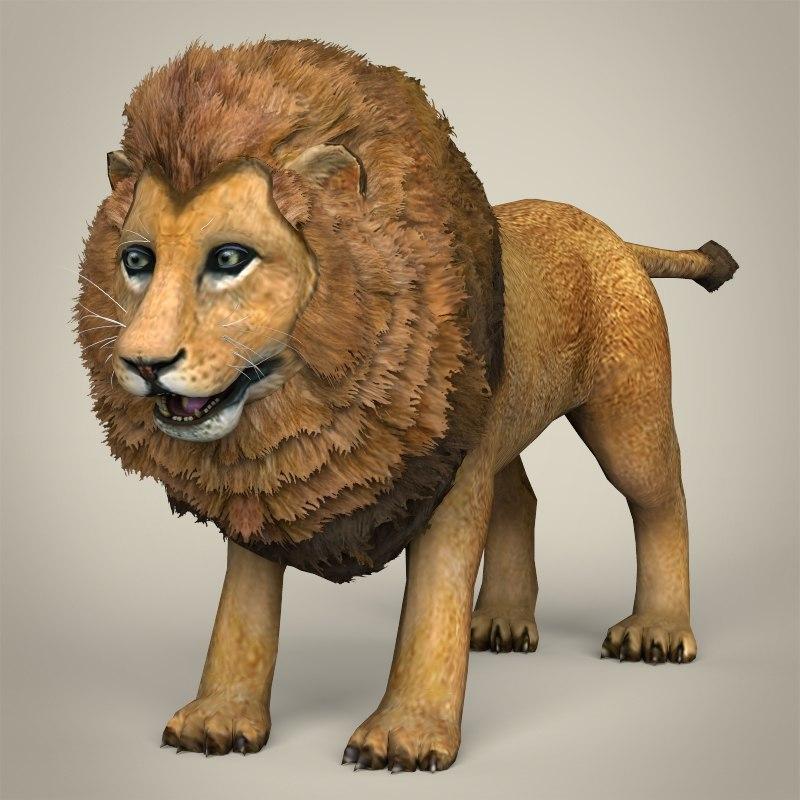 realistic lion 3ds