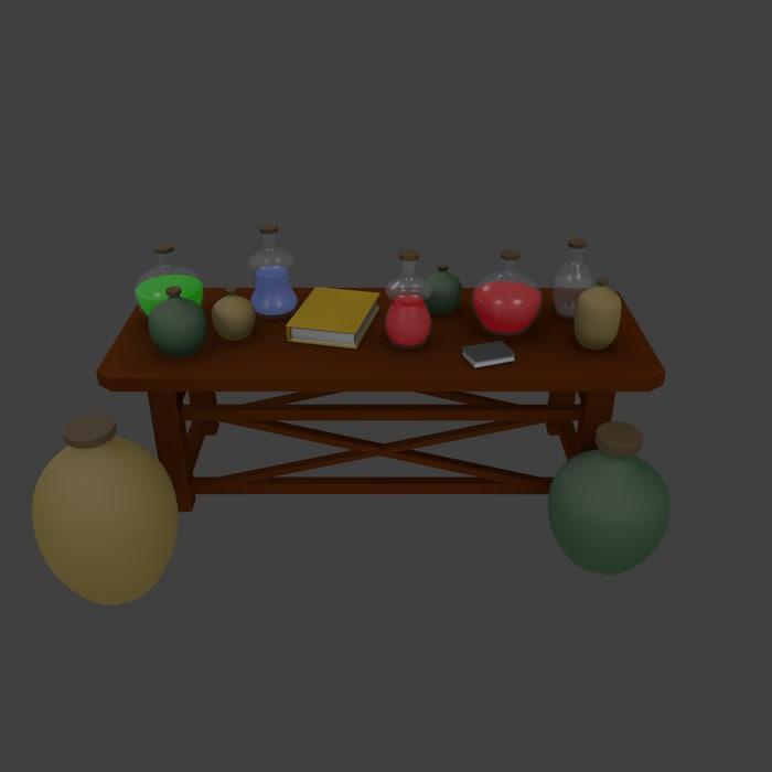 3d model of medieval spells table
