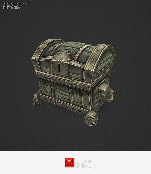 3d model hand painted small treasure chest