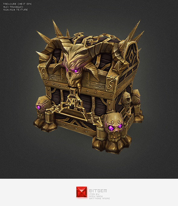 3d model of hand painted epic treasure chest