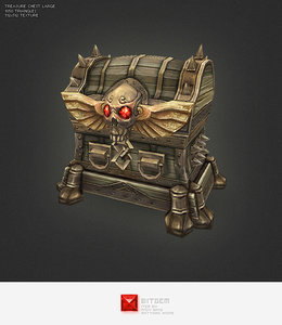 3d hand painted large treasure chest